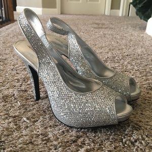 Silver Sequin Platform Heels