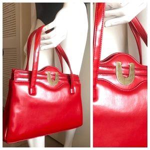 Vintage Purse/ Handbag by JR, Lipstick Red, So Mod