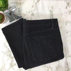 Tory Burch logo pocket black super skinny jeans