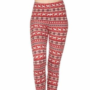 Pants - Christmas Theme Print Yummy Brushed Ankle Leggings