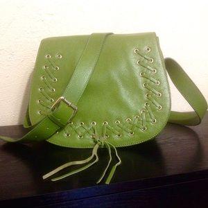 NWOT - VIOLETTA - Green Pebbled Leather Saddlebag