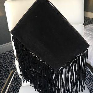 Zara black suede fringe large clutch