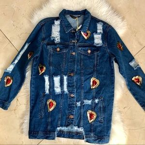 Jackets & Blazers - NWT Denim jacket w/sequence distressed w/graffiti