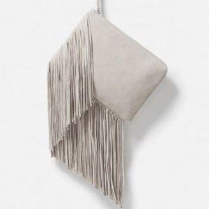 Zara white suede fringe large clutch