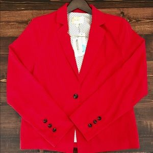 NWT Red blazer with interior polka dot detail