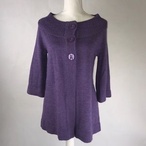 Swing Front Cardigan Sweater with Bell Sleeve Sz S