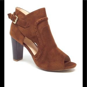 M & L Brown Faux Suede High Heel Ankle Bootie