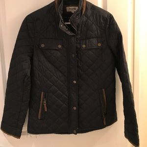 Jackets & Blazers - Navy/Tan Quilted Elbow Patch Jacket Size 10 Medium