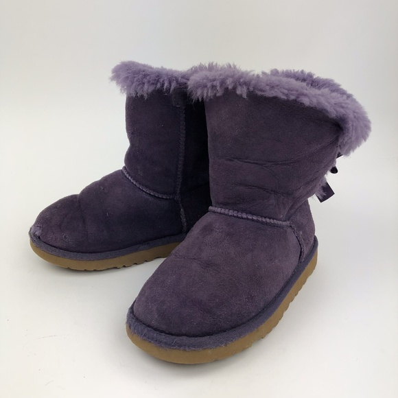 c45ae481978 UGG Little Girl's Purple Bailey Bow Boots Size 13