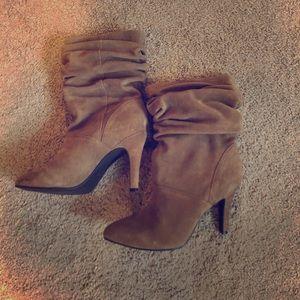 Tan suede heel boots! Like new!