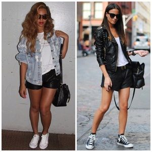 Pants - Faux Leather Cuffed Shorts