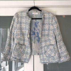 Gorgeous light blue tweed & fringe Escada jacket