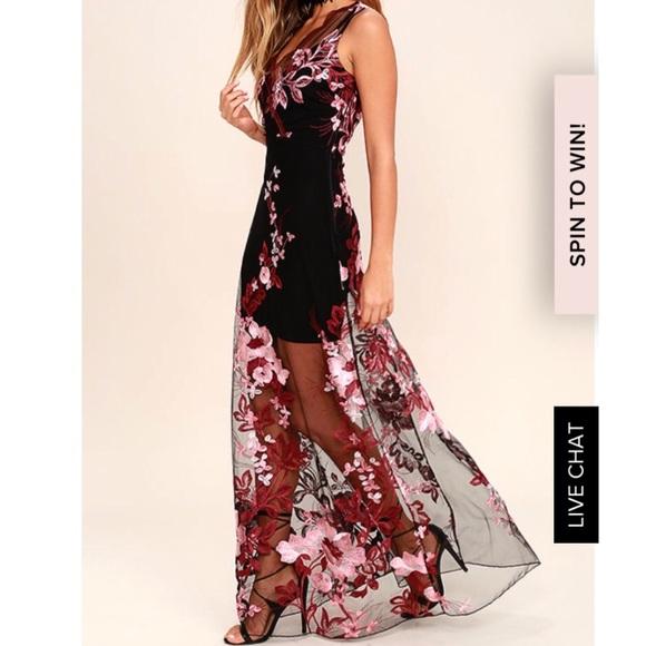 Lulus Dresses Lulus Work The Bloom Wine Red Black Maxi Dress