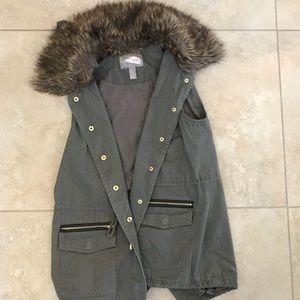 Fur lined utility vest