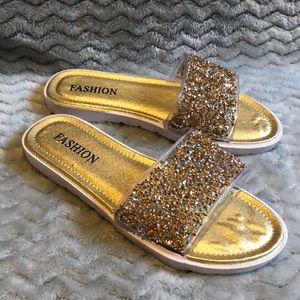 Shoes - NWOT gold glitter slides