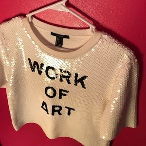 50b4ac68aa49a Forever 21 Tops - Forever 21 work of art sequin top size S