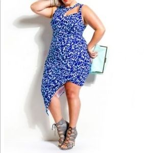 Monif C Blue Leopard Dress