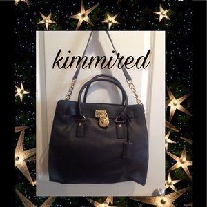 Michael Kors Lg Hamilton Black Leather Satchel Bag