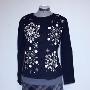 Black Sequin Snowflake Holiday Cardigan Size M