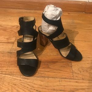 Marc Fisher Black leather Heeled Sandals Size 7