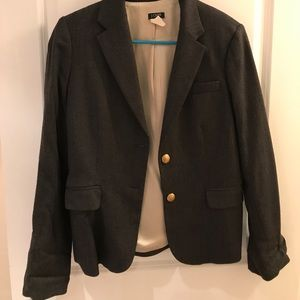 J. Crew Grey Wool Gold Buttoned Blazer Size 6