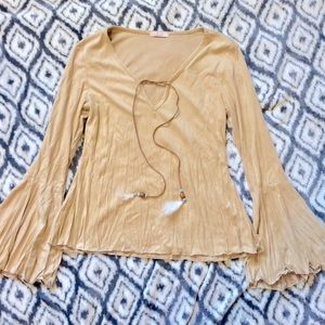 Tops - Suede-Like Tan Feather Native Style Blouse