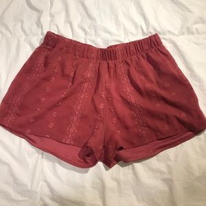 embroidered flowy shorts