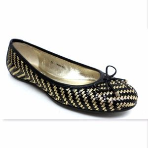 New JIMMY CHOO Size 36 Black Woven Bow Ballet Flat