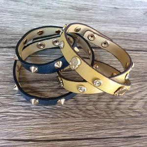 Jewelmint leather wrap studded bracelet pair