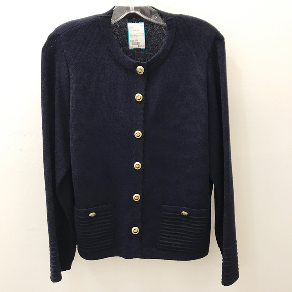 79% off St. John Sweaters - St. John Navy Button Down Cardigan ...