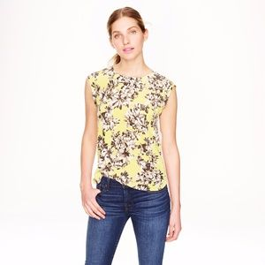 J. Crew Floral Lac Back Top