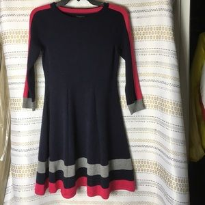 Vince Camuto  Sweater Dress Navy Pink and Gray