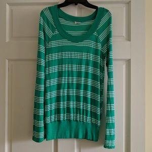 Splendid Green/White Striped Long-Sleeved Top