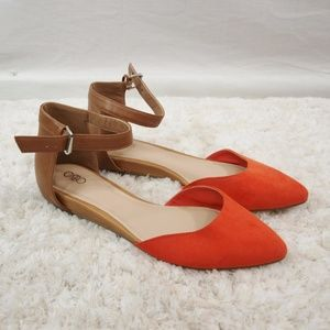 Cato Orange Brown D'orsay Pointed Toe Flats Size 8