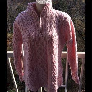 NWT Aran Crafts Pink 1/4 Zip Sweater Merino Wool S