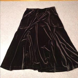 Elegant Black Velvet Coldwater Creek Skirt