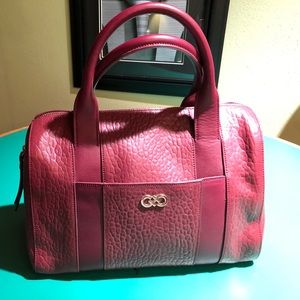 Cole Haan Burgundy Leather Zippered Satchel