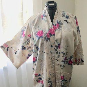 Ivory Satin M/L Floral Crane Print Kimono Robe