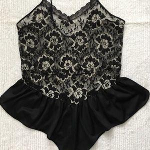 Black/Silver B32 Nylon Lace Rhinestone Teddy