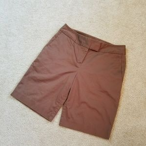 Ann Taylor Brown Walking Bermuda Shorts Sz 4