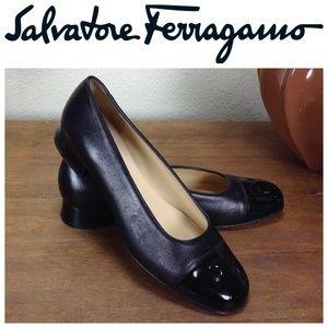Salvartore Ferragamo Black Leather Round Toe Flats