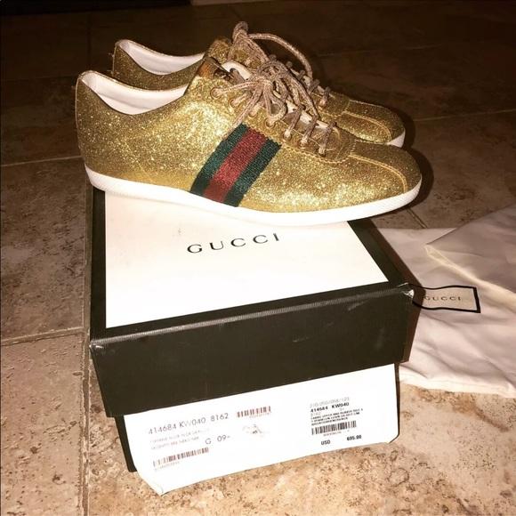 9b9fc4b70 Gucci Shoes | Authentic T Sparkle Gold Retail 695 | Poshmark