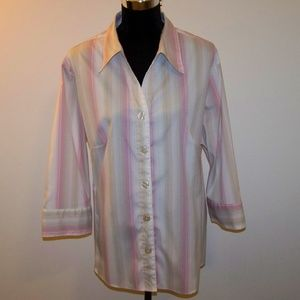 Dress Barn Pink/Tan/Cream Button Down Size 22W/24W
