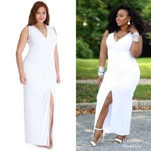 White maxi plus size dress