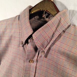 Lands End Brown Red Yellow Plaid Long Sleeve Shirt