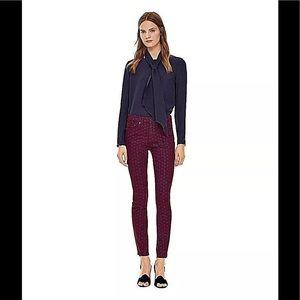 Tory Burch Printed Burgundy Hi Waist Skinny Jeans