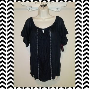 Black Lace Short Sleeve Top-NWT