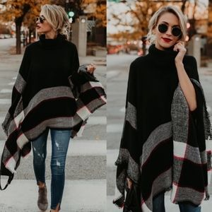 CHARLESTON Poncho - BLACK