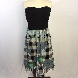 [Torrid] Strapless Checkered Floral Party Dress 12