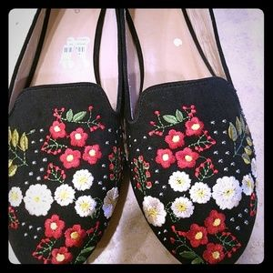 Topshop floral embroidered flats SZ 41/ 8